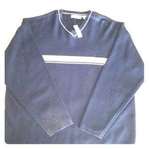 Mens Navy X Gear v neck sweater
